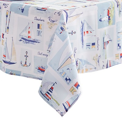 Sail Away Nautical Sailboat Stain Resistant Indoor/Outdoor Spring Summer Tablecloth - Blue - Elrene Home Fashions