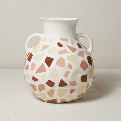 """12.5"""" x 11.5"""" Round Mosaic Vase with Handles White/Brown - Opalhouse™ designed with Jungalow™"""