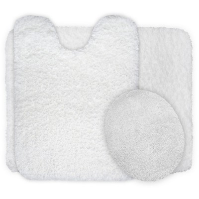 3pc Solid Super Plush Non-Slip Bath Mat Rug Set White - Yorkshire Home