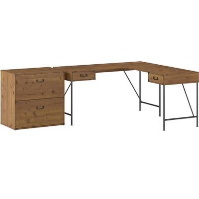 Bush Furniture Ironworks 60 L-Shaped Desk Bundle Vintage Golden Pine IW028VG