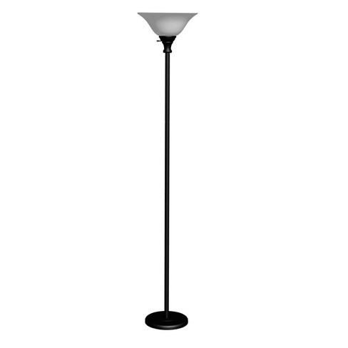 70 3 Way Metal Torchiere Floor Lamp With Glass Shade Black Cal Lighting Target