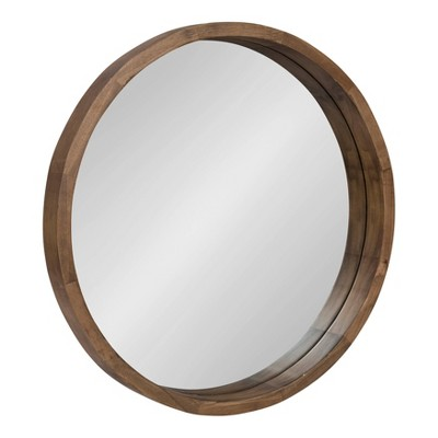 "22"" x 22"" Hutton Round Wood Wall Mirror Rustic Brown - Kate and Laurel"