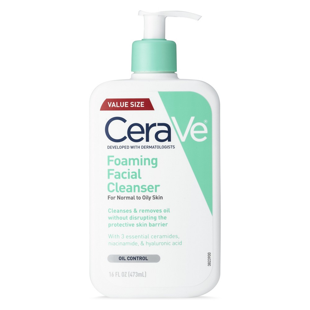 Image of CeraVe Foaming Facial Cleanser for Normal to Oily Skin - 16 fl oz