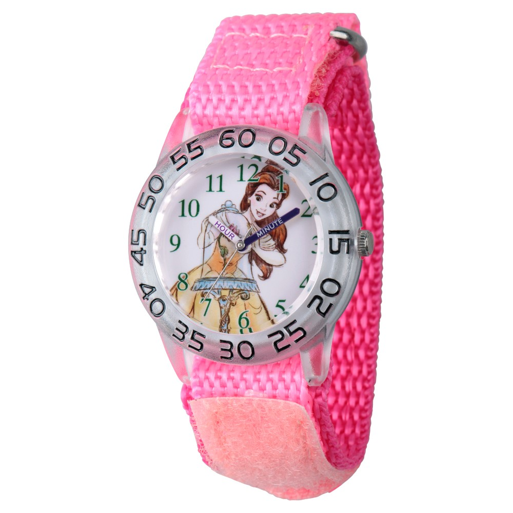 Girls' Disney Princess Belle Clear Plastic Time Teacher Watch - Pink, Purple