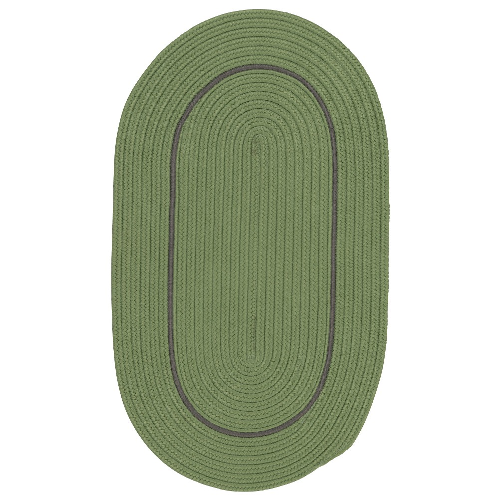 3'X5' Solid Braided Oval Area Rug Green - Colonial Mills