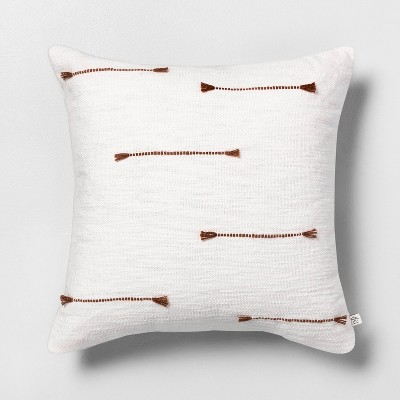 "18"" x 18"" Texture Dash Throw Pillow Pumpkin Brown / Sour Cream - Hearth & Hand™ with Magnolia"