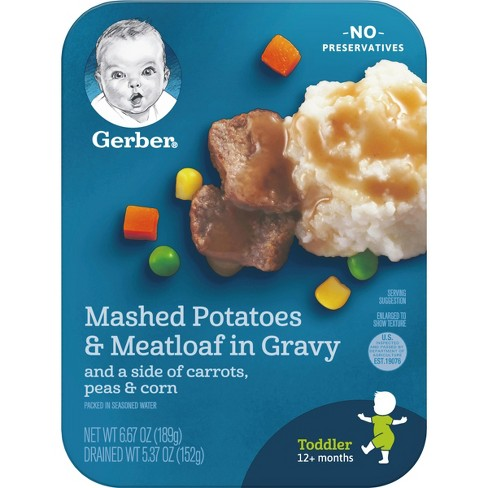 Gerber Lil' Entrees Mashed Potatoes & Meatloaf Nuggets in Gravy w/ Carrots Peas & Corn - 6.67oz - image 1 of 6