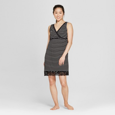 Lamaze Women's Striped Nursing Nightgown - Black Thin Stripe M