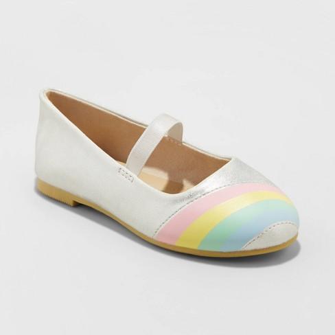 Toddler Girls' Kami Ballet Flats - Cat & Jack™ Silver  - image 1 of 3