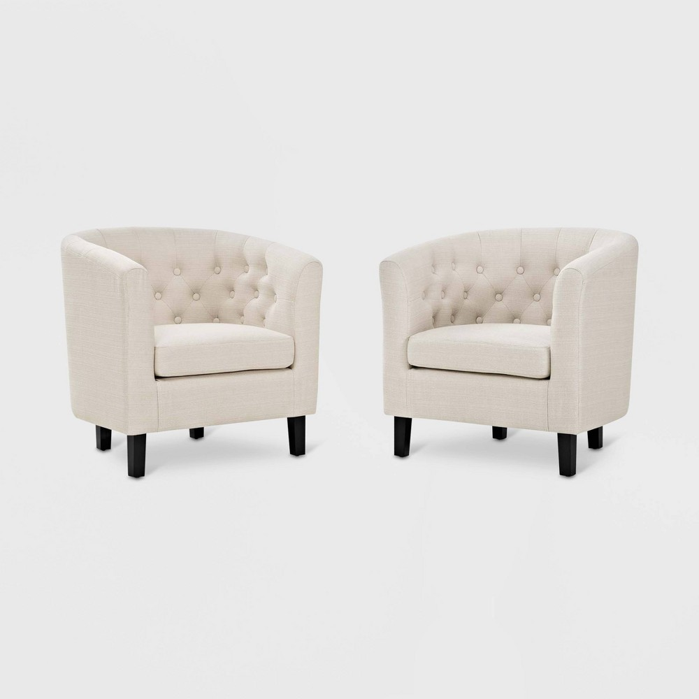 2pc Prospect Upholstered Fabric Armchair Set Beige - Modway