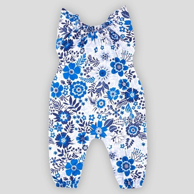 Lamaze Baby Girls' Organic Cotton Floral Romper - Blue 6M