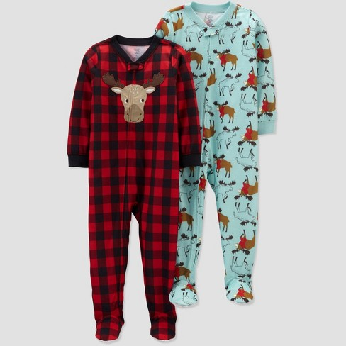 Toddler Boys' 2pk Buffalo & Moose Footed Pajama - Just One You® made by carter's Red/Blue - image 1 of 1