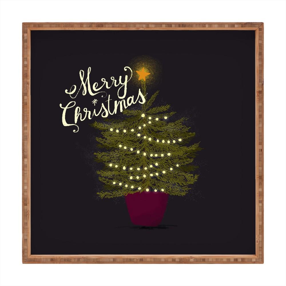 Joy Laforme Merry Christmas Little Tree Tray (16) - Deny Designs, Black