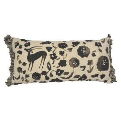 Oversized Lumbar Print and Applique Pillow Black/Cream - Opalhouse™