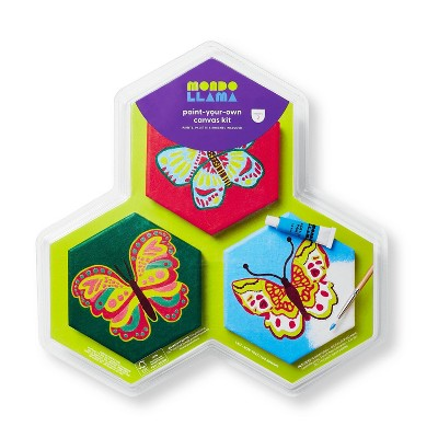 3ct Paint-Your-Own Hexagon Canvas Kit Butterfly - Mondo Llama™