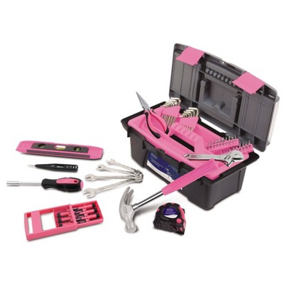 Apollo Tools 53pc DT9773P Household Tool Kit with Tool Box Pink