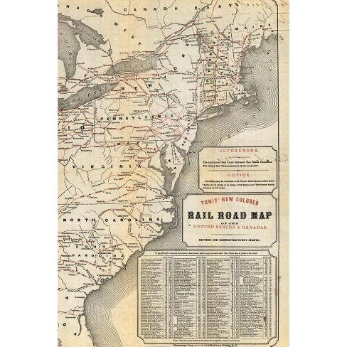Tunis new colored rail road map of the United States & Canadas - (Poetose  Notebooks) (Paperback)