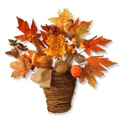 """16"""" Maple Leaf Wall Basket - National Tree Company"""