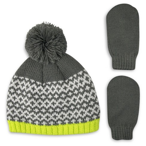 Boys' Fair Isle Knit Pom Pom Beanie and Mitten Set Gray/Lime/Cream - Cat & Jack™ - image 1 of 1