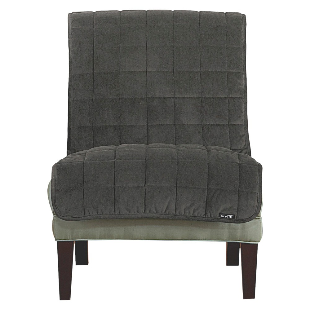 Gray Quilted Velvet Armless Chair Slipcover - Sure Fit