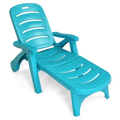 Costway Folding Chaise Lounge Chair 5-Position Adjustable Recliner Grey\Brown\Turquoise