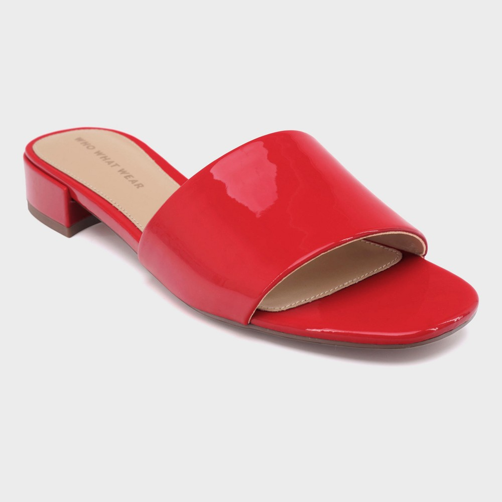 Women's Mae Patent Heeled Slide Sandals - Who What Wear Red 6