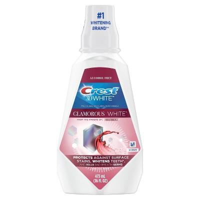 Crest 3D White Glamorous White Alcohol Free Multi-Care Whitening Mouthwash, Fresh Mint, 16 fl oz (473 mL)