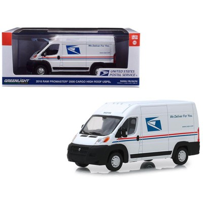 """2018 RAM ProMaster 2500 Cargo High Roof Van """"United States Postal Service"""" (USPS) White 1/43 Diecast Model Car by Greenlight"""