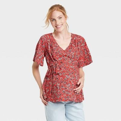 Short Sleeve Woven Maternity Blouse - Isabel Maternity by Ingrid & Isabel™ Coral Orange Floral