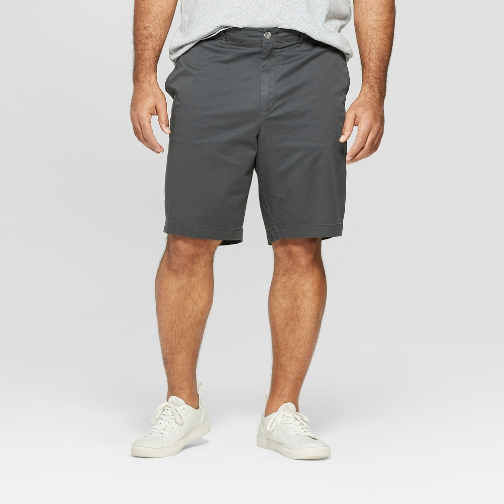 Men's Big & Tall 10.5 Slim Fit Chino Shorts - Goodfellow & Co Charcoal 44, Gray