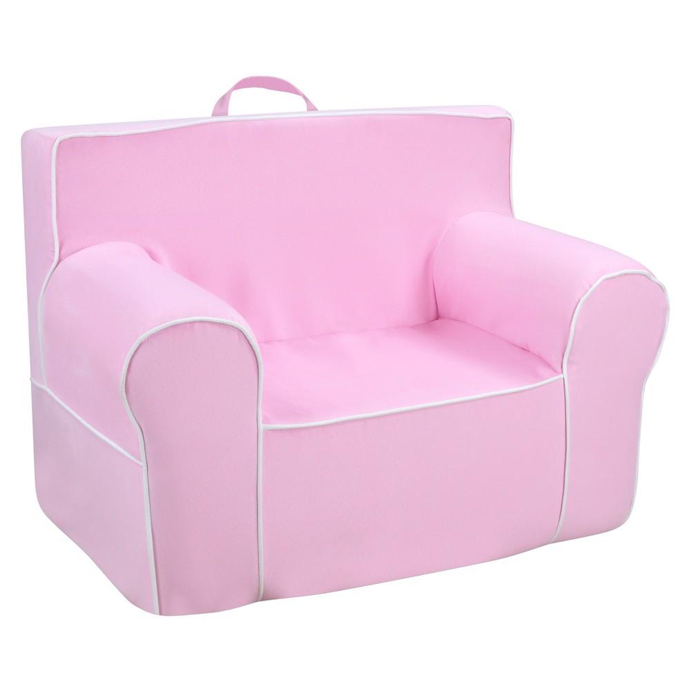 Tween Grab-N-Go Foam Chair With Handle - Bubblegum With White Welt - Kangaroo Trading Co., Pink