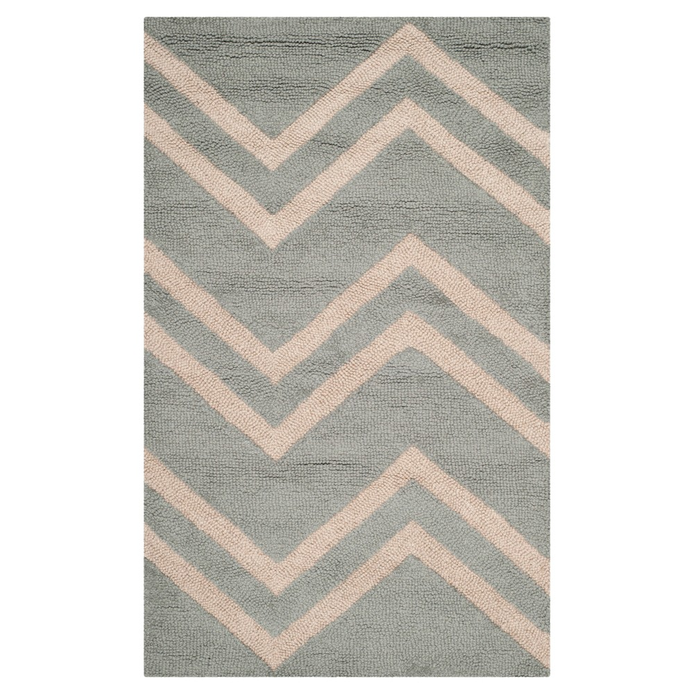 3'X5' Stripe Accent Rug Gray - Safavieh