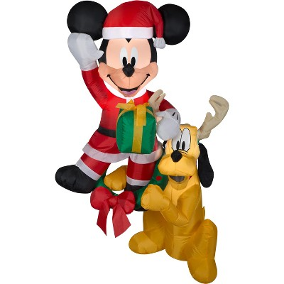 Gemmy Christmas Airblown Inflatable Hanging Mickey and Pluto Disney, 5 ft Tall, Multicolored