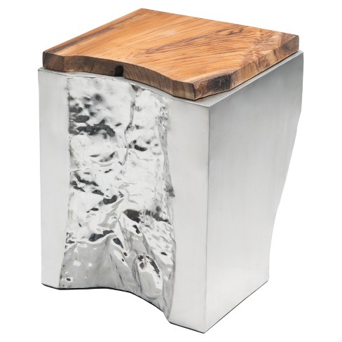 Modern Square Teak Wood Side Table - Natural, Stainless Steel - Zm Home - image 1 of 9