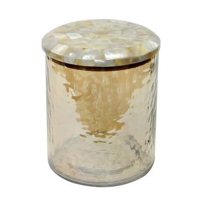 Large Hammered Glass Canister with Mop Lid Amber - Nu Steel