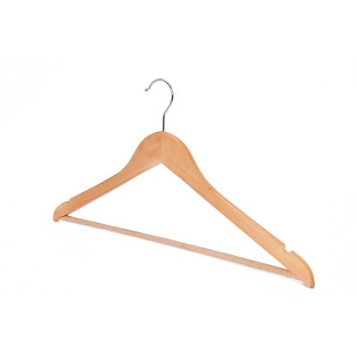StorageWorks 24pk Solid Wood Premium Hangers with Non Slip Pants Bar and Notches Natural