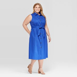 Women's Plus Size Sleeveless Collared Midi Shirtdress - Ava & Viv™ Blue 3X