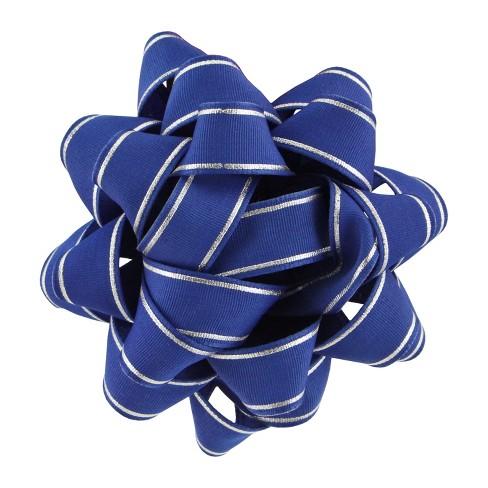 Blue Grosgrain with Silver Stripe Premium Bow - Wondershop™ - image 1 of 1