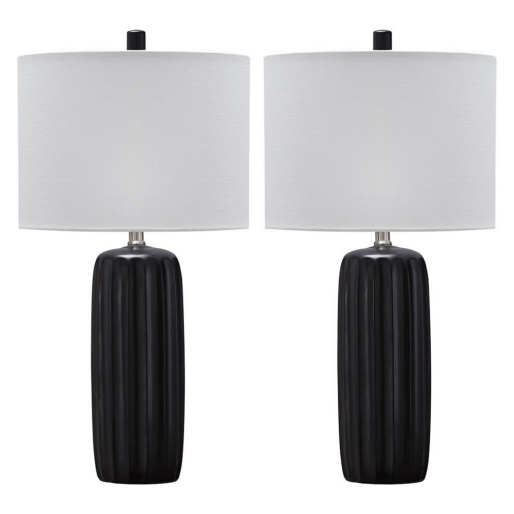 Adorlee Ceramic Set Of 2 Table Lamp Black (Lamp Only) - Signature Design by Ashley