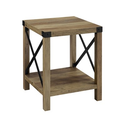 """18"""" Rustic Farmhouse Metal X Frame Side Table with Wood and Metal Rustic Oak - Saracina Home"""