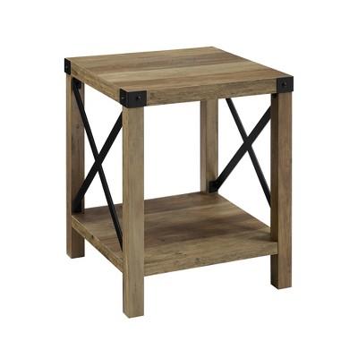 18  Metal X Side Table Rustic Oak - Saracina Home