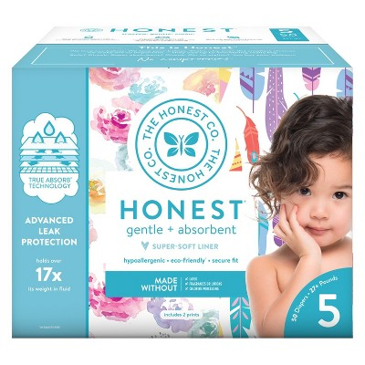 Honest Company Disposable Diapers Club Pack Rose Blossom & Painted Feathers - Size 5 (50ct)