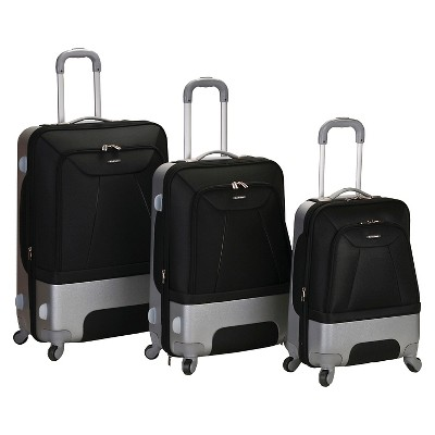 Rockland Rome 3pc Hybrid ABS Luggage Set - Black