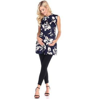 Maternity Floral Printed Sleeveless Labelle Tunic - White Mark