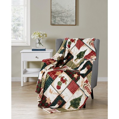 Kate Aurora Ultra Plush Merry Christmas Plaid Farmhouse Hypoallergenic Fleece Throw Blanket