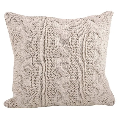 Vanilla Cable Knit Design Throw Pillow (20 x20 )Saro Lifestyle