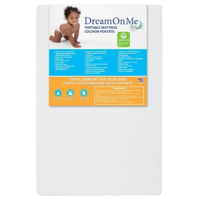 "Dream On Me 3"" Extra Firm Portable Crib Mattress - White"
