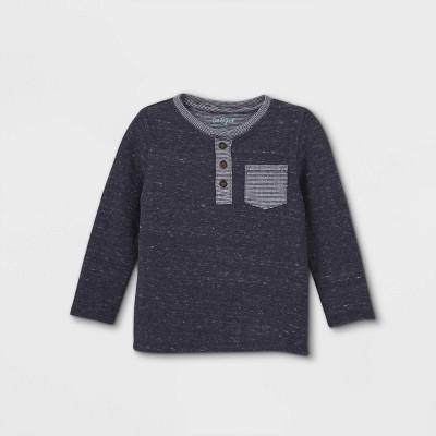 Toddler Boys' Double Knit Henley Long Sleeve T-Shirt - Cat & Jack™ Navy 2T