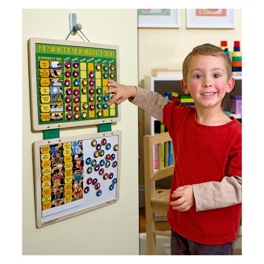 Melissa & Doug Deluxe Wooden Magnetic Responsibility Chart With 90 Magnets image number null