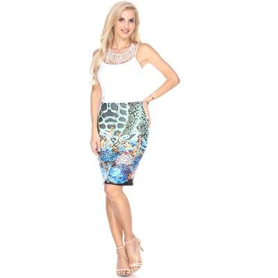 Women's Printed Pencil Skirt - White Mark